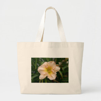 Peach Ruffled Lily Large Tote Bag