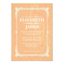 Peach Rustic Barn Wood Wedding Invitations Invite