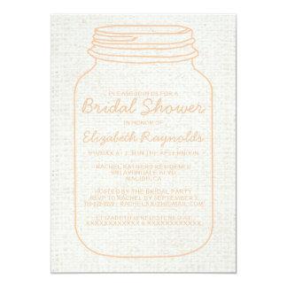 Peach Rustic Burlap Mason Jar Bridal Shower Invite