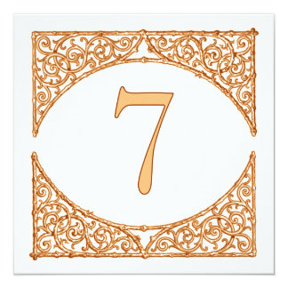 Peach Rustic Country Wood Screen Table Number 7 Invitation