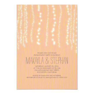 Peach Rustic String of Lights Engagement Party Card