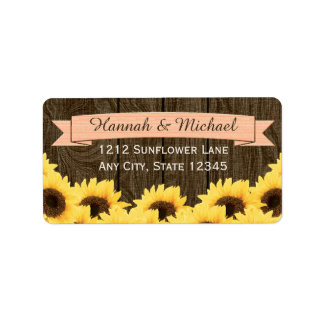 PEACH RUSTIC SUNFLOWER RETURN ADDRESS LABEL