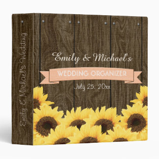 PEACH RUSTIC SUNFLOWER WEDDING ORGANIZER BINDER