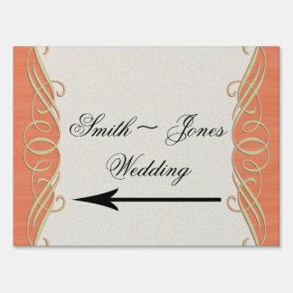 Peach Sage Elegant Scroll Wedding Direction Sign