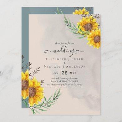 Peach Sage Sunflowers Rustic Boho Wedding