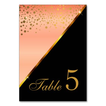 Professional Business Peach Satin and Gold Confetti Dots Card