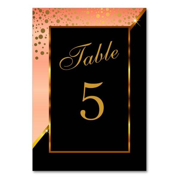 Peach Satin, Black and Gold Confetti Dot Strings Card