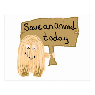 Peach save animal postcard