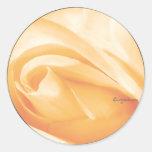 Peach Sherbet Rose Bud Wedding Envelope Seal Classic Round Sticker