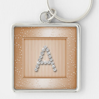 Peach Shimmer and Sparkle with Monogram Keychain