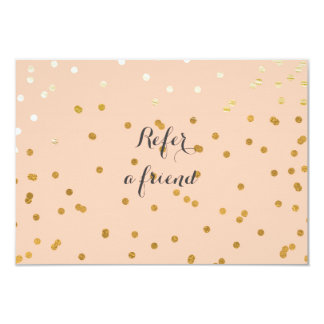 Peach & Shiny Gold Modern Dots Referral Card