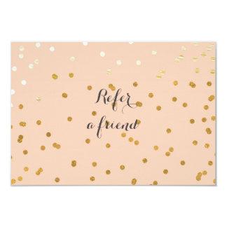 Peach & Shiny Gold Modern Dots Referral Card