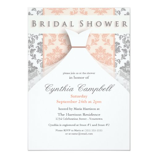 "Peach/Silver Damask Bridal Shower Invitations 5"" X 7"" Invitation Card"