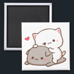 "Peach sitting on Goma - Mochi Mochi Peach Cats Magnet<br><div class=""desc"">peach,  goma,  mochi,  cat,  kitty,  cute,  romantic,  kawaii,  gift,  boyfriend,  girlfriend</div>"