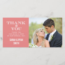 Peach Snowflake Wedding Photo Thank You Cards