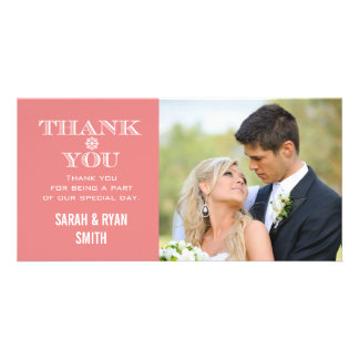 Peach Snowflake Wedding Photo Thank You Cards Picture Card