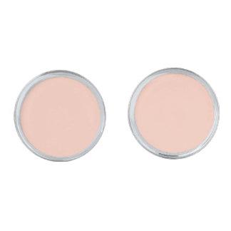 Peach Solid Color Silver Finish Cuff Links