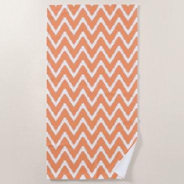 Beach Themed Peach Southern Cottage Chevrons Beach Towel