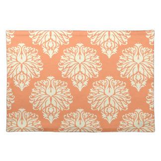 Peach Southern Cottage Damask Cloth Place Mat