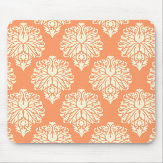 Peach Southern Cottage Damask Mouse Pad
