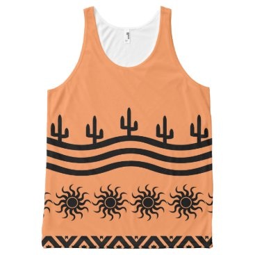 Aztec Themed Peach Southwest Design Pattern Tank Top