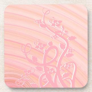 Peach Spirals, Filigree and Flowers Beverage Coaster