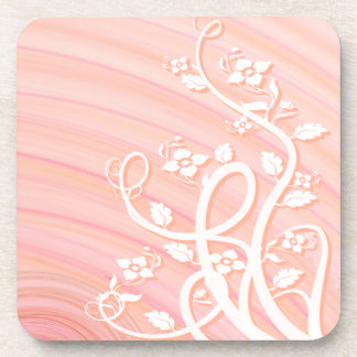 Peach Spirals, Filigree and Flowers Coaster