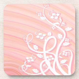 Peach Spirals, Filigree and Flowers Drink Coaster
