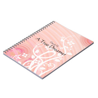 Peach Spirals, Filigree and Flowers Notebook