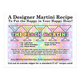 Peach Spring Martini Recipe Card Postcard