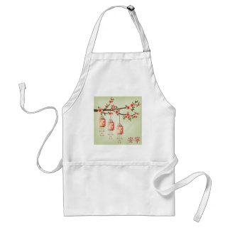 """Peach square lanterns green """"Tranquility"""" Adult Apron"""