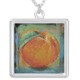 Peach Square Pendant Necklace