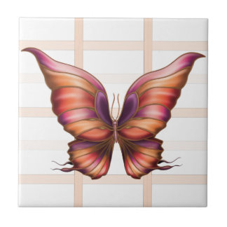 Peach Squared with Butterfly Ceramic Tile