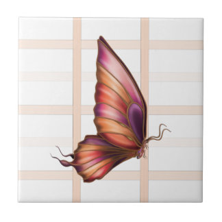 Peach Squared with Butterfly Left Ceramic Tile