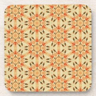Peach Star Flowers Quilt Look Pattern Drink Coaster
