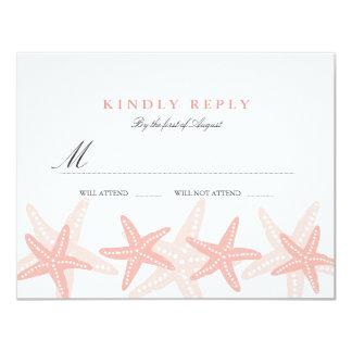 Peach Starfish Beach Wedding RSVP Card