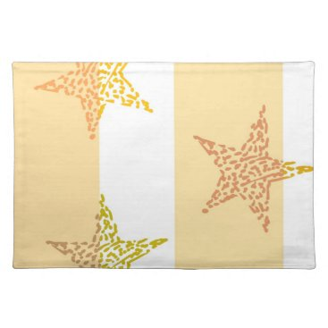 Beach Themed Peach Stars and Stripes Placemat