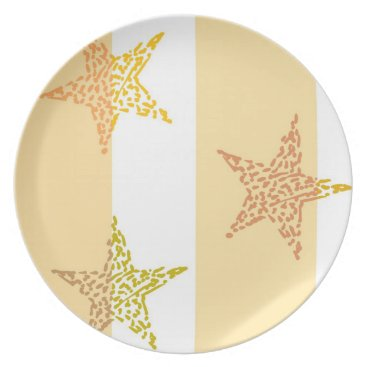 Beach Themed Peach Stars and Stripes Plate