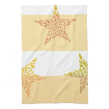 Beach Themed Peach Stars and Stripes Towel