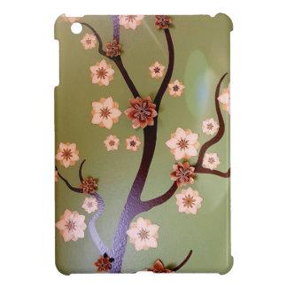 Peach stencil blossoms on twigs iPad mini covers