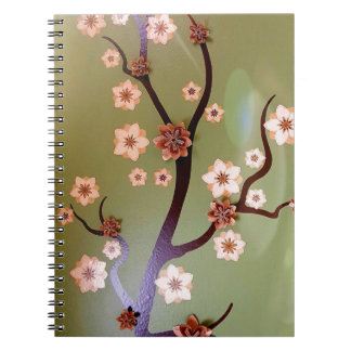 Peach stencil blossoms on twigs notebook