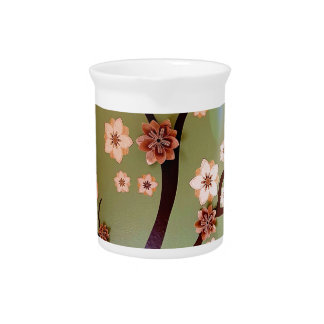 Peach stencil blossoms on twigs pitcher