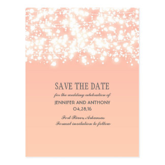 peach string lights elegant save the date postcard
