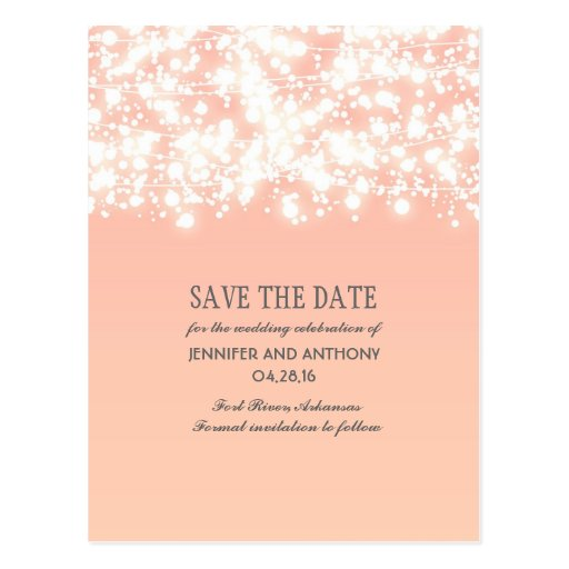 String Lights Save The Date : peach string lights elegant save the date postcard Zazzle