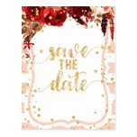 Peach Stripe Floral Gold Wedding Save the Date Postcard