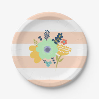 Peach striped paper plate with flowers