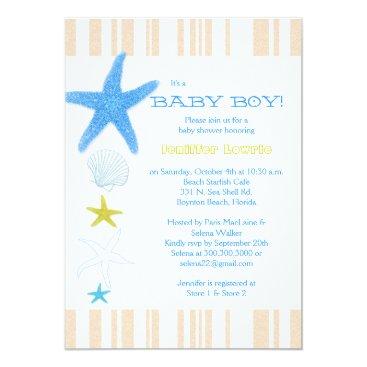 Beach Themed Peach Stripes Blue Beach Baby Boy Baby Shower Card