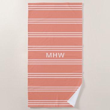 Beach Themed Peach Stripes custom monogram beach towel