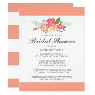 Peach Stripes Floral Bridal Shower Invitation