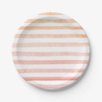 Peach Stripes Watercolor Paper Plate